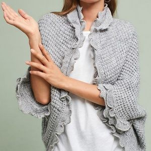 Anthropologie Moth Rocia Ruffled Cardigan Gray L